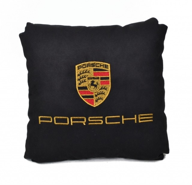 Подушка замшевая Porsche (А18 - черная)