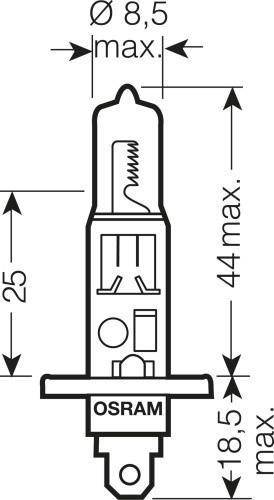 Лампа Osram H1 Night Breaker Silver (12 В, 55 Вт, +100%, блистер)