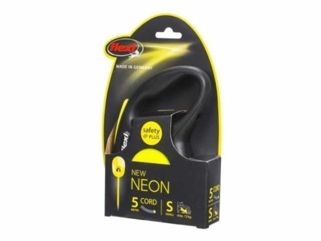 Рулетка Flexi Neon New S, трос, 5 м