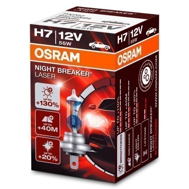 Лампа Osram H7 Night Breaker Laser (12 В, 55 Вт, +150%)