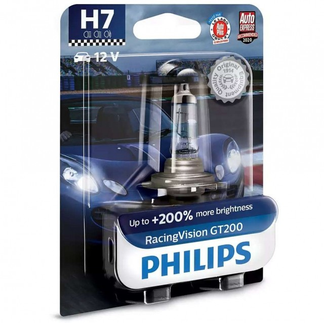 Лампа Philips H7 RasingVision GT200 (12 В, 55 Вт, +200%, блистер)