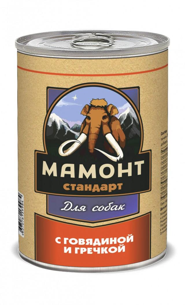 Консервы для собак Мамонт Стандарт, говядина с гречкой, 970 г