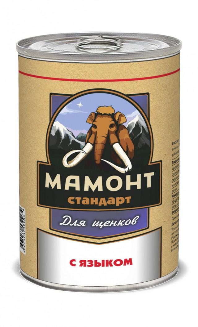 Консервы для щенков Мамонт Стандарт, телятина с языком, 970 г