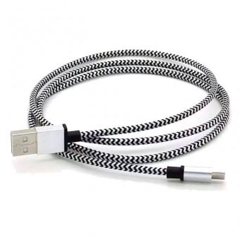 Кабель зарядки Smartbuy 12 Metal Cotton, USB - MicroUSB (1 м, белый)