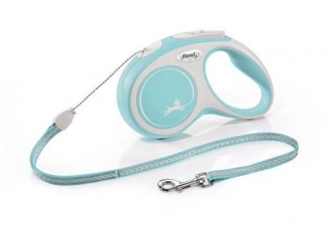 Рулетка Flexi Comfort New S, трос, 5 м, серо-голубой