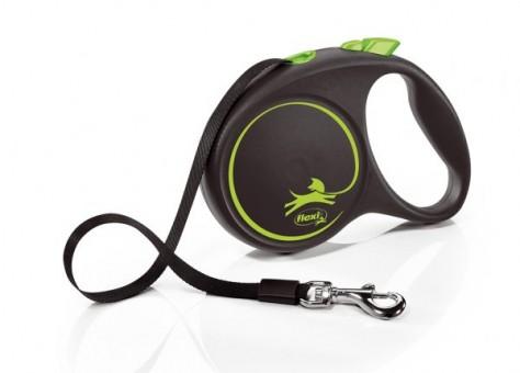 Рулетка Flexi Black Design L, лента, 5 м, черно-зеленый