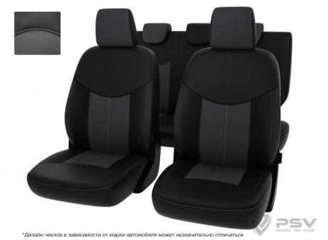 """Чехлы  Hyundai Elantra V 2010-2016 г. - черно-серая экокожа """"Оригинал"""""""