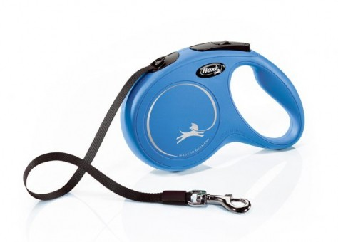 Рулетка Flexi Classic New M, лента, 5 м, синий