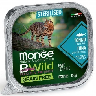 Паштет для кошек Monge BWild Grain Free - Pate terrine Tonno, Sterelised (100 г)
