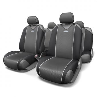 Чехлы-майки Автопрофи Carbon (комплект) - черно-серые