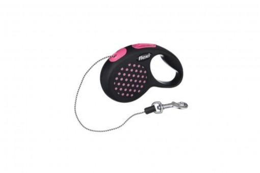 Рулетка Flexi Design XS, трос, 3 м, розовый горошек