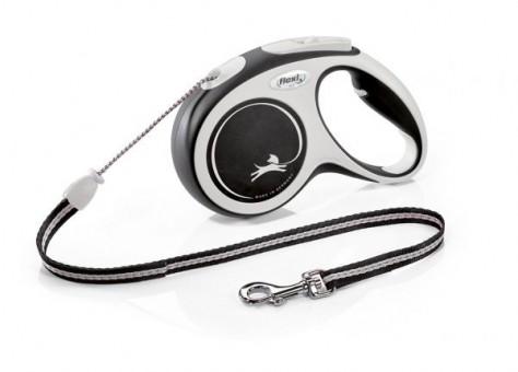 Рулетка Flexi Comfort New M, трос, 5 м, серо-черный