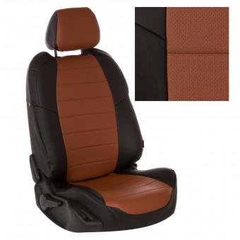 Чехлы Автопилот Renault Logan II (2014>) раздел., безоп. - черно-коричневые