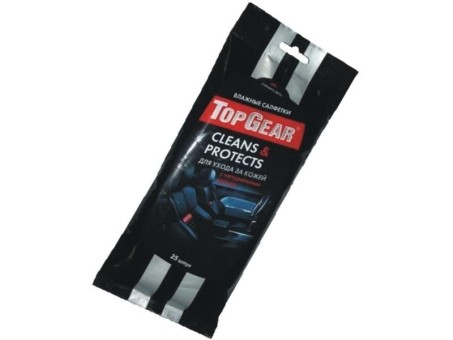 Салфетки влажные TopGear для кожи салона (25 шт)