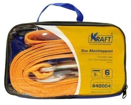 Трос буксировочный Kraft Premium лента 6 т (2 крюка, 5 м, сумка)