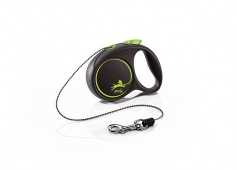 Рулетка Flexi Black Design XS, трос, 3 м, черно-зеленый