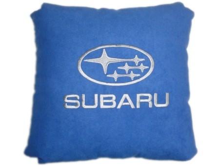 Подушка замшевая Subaru (А12 - синяя)