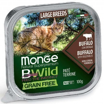 Паштет для кошек Monge BWild Grain Free - Pate terrine Bufalo, Large Breeds (100 г)