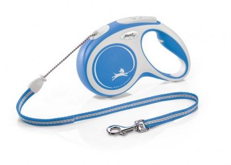 Рулетка Flexi Comfort New M, трос, 5 м, серо-синий