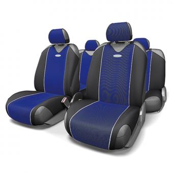 Чехлы-майки Автопрофи Carbon (комплект) - черно-синие
