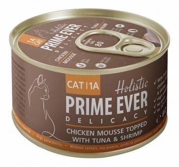 Консервы для кошек Prime Ever Delicacy Мусс 1A, цыпленок с тунцом и креветками (80 г)
