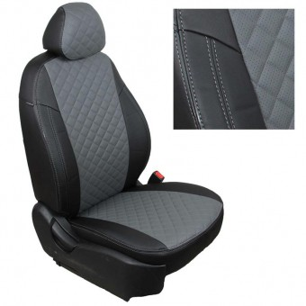 Чехлы Автопилот Hyundai Santa Fe III (2012>) - черно-серые, ромб