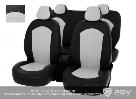 Чехлы Chevrolet Aveo II 2011->   черно-белая экокожа *Оригинал*