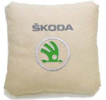 Подушка замшевая Skoda (А02 - светло-бежевая)