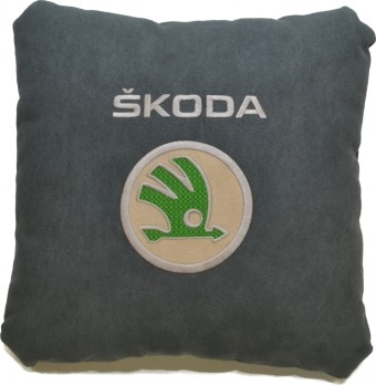 Подушка замшевая Skoda (А101 - серая)