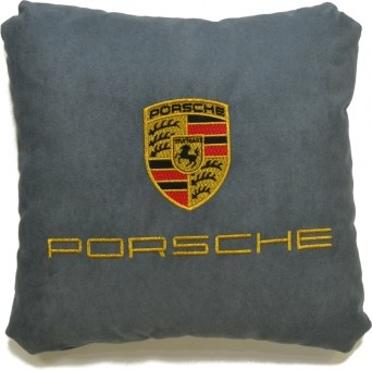 Подушка замшевая Porsche (А101 - серая)