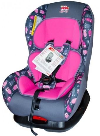 Автокресло детское 0-18кг. Little Car Soft совы-розовый