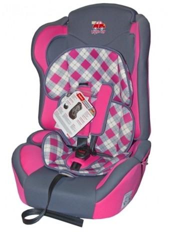 Автокресло детское 9-36кг. Little Car Comfort клетка-розовый