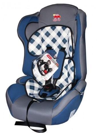 Автокресло детское 9-36кг. Little Car Comfort клетка-синий