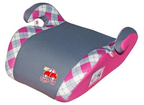 Бустер детский 22-36кг. Little Car Smart клетка-розовый