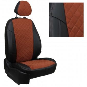 Чехлы Автопилот Hyundai Solaris I (2010>) Sd, раздел. - алькантара, ромб, черно-коричневые