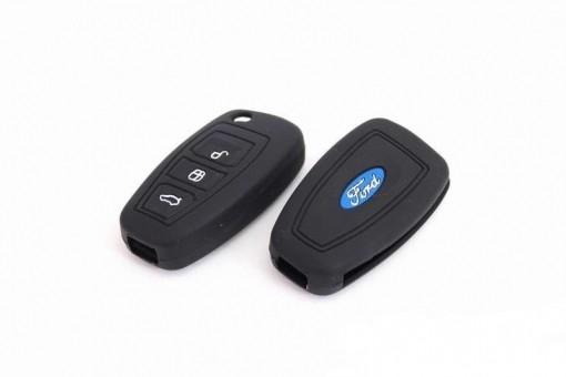 Чехол силиконовый для выкидного ключа Ford Focus3 3 кн. (черный)