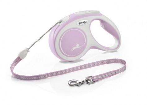 Рулетка Flexi Comfort New S, трос, 5 м, серо-розовый