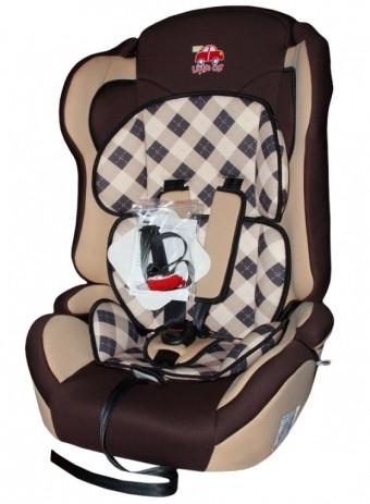 Автокресло детское 9-36кг. Little Car Comfort клетка-коричневый