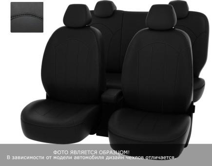 Чехлы  Chevrolet Aveo 12-> черный/отстрочка черная, экокожа *Оригинал*