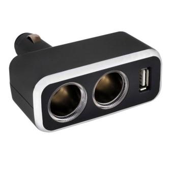 Разветвитель 2 гнезда, 1 USB SKYWAY S02301003