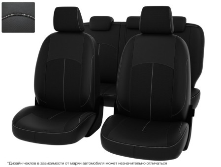 Чехлы Оригинал Nissan Almera III G15 (2012-н.в.) дел. - черный/отстрочка белая, 123596