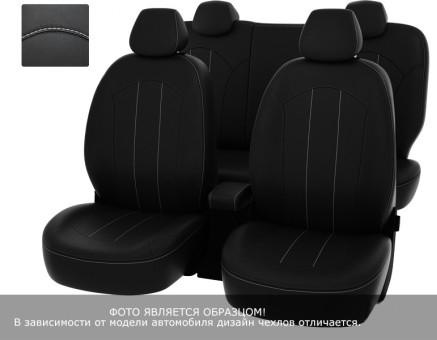 """Чехлы  Peugeot 301 Active/Allure 13-> черный/отстрочка белая, экокожа """"Оригинал"""""""
