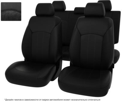 """Чехлы  Nissan Juke 10-> черная экокожа + черная алькантара """"Оригинал"""""""