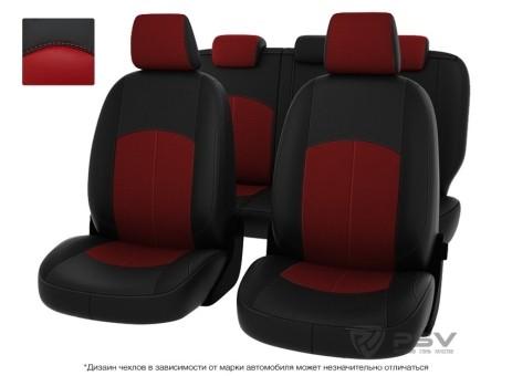 """Чехлы  Mazda 3 09-> чер-крас экокожа """"Оригинал"""""""