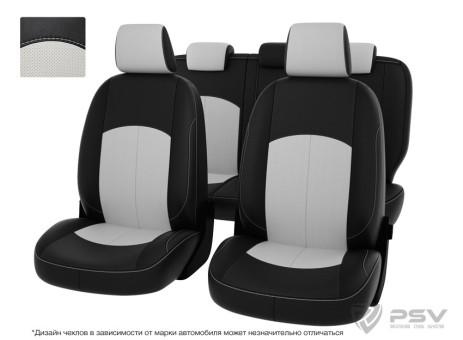"""Чехлы  Nissan Almera IV 12-> дел. чер-бел экокожа """"Оригинал"""""""