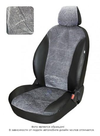 Чехлы  Chevrolet Lanos диван спл., спинка 1/3, горб, серый флок БРК