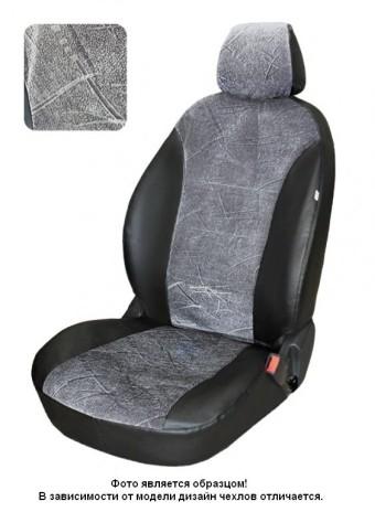 Чехлы  VW Polo 10-> S  диван и спинка дел. 1/3 серый флок БРК