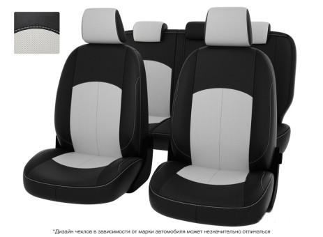 """Чехлы  Mazda 3 09-> чер-бел экокожа """" Оригинал"""""""