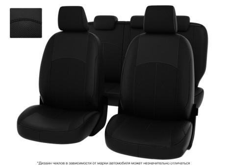"""Чехлы  Mazda 3 09-> черный экокожа + черный нубук """" Оригинал"""""""