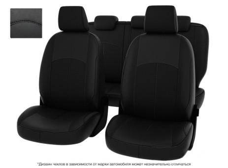 """Чехлы  Mazda 3 09-> черный/отстрочка черная, экокожа """"Оригинал"""""""